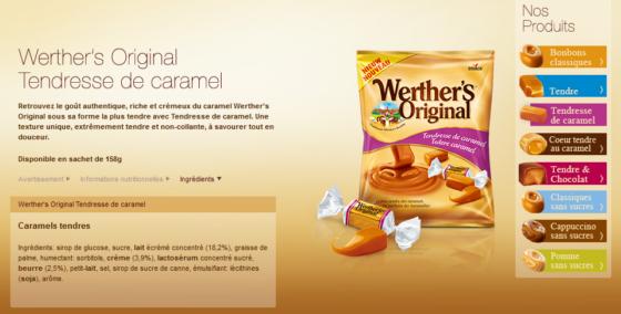 werthers caramel bonbon sans allergènes