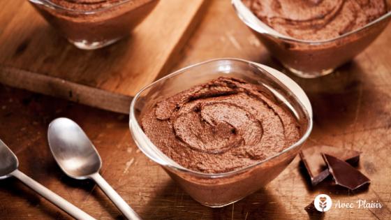 Recette mousse chocolat à 2 ingrédients sans allergènes : sans gluten, sans lait, sans oeuf
