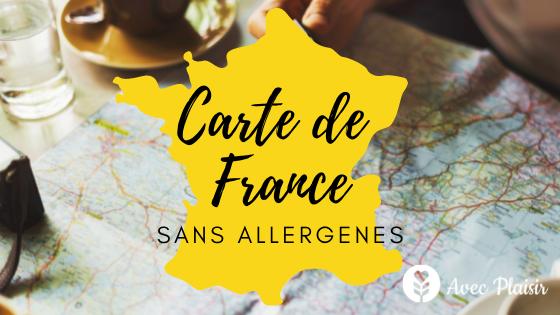Carte de France des adresses sans allergènes par département