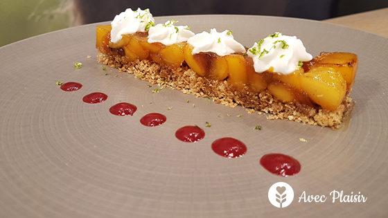 Dessert sans allergènes : mangues, crumble de sarrasin et espuma coco