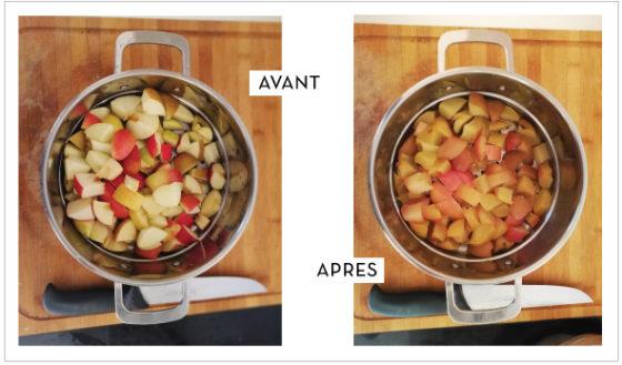 Beurre de pomme Klézia - cuisson des pommes