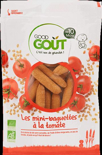 Biscuit sans lait pour le goûter de bébé APLV : Gressin tomate Good Goût