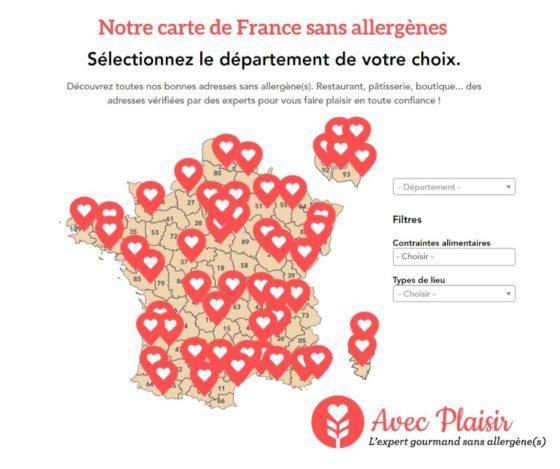 Carte de France de nos adresses sans allergènes : sans gluten, sans lactose, lait, oeuf...