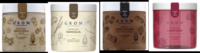 Glaces sans allergènes - Grom, des glaces et sorbets en pot sans gluten