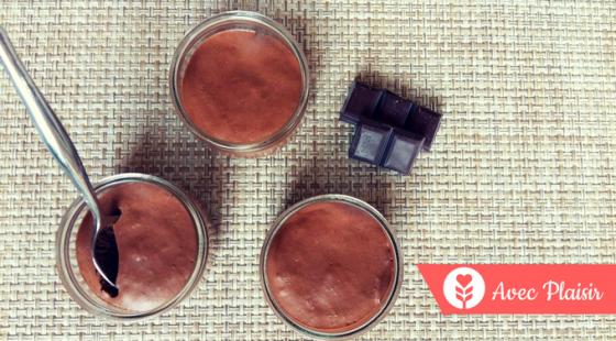 Mousse au chocolat sans oeuf ni gluten, lait, lactose (grâce à l'aquafaba)