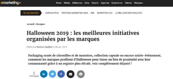 Avec Plaisir, meilleures initiatives pour Halloween selon Emarketing