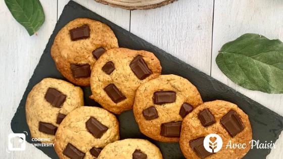 Recette de cookies moelleux chocolat banane sans gluten sans lactose ni lait sans sucres raffinés