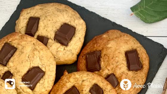Recette de cookies moelleux chocolat banane sans gluten sans lactose ni lait sans sucres raffinés - Cookies